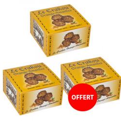 2 boîtes de crakou orange achetées, la 3 ème offerte